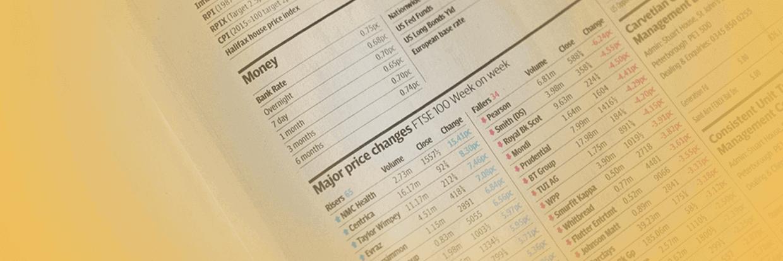 Seite mit Aktienkursen